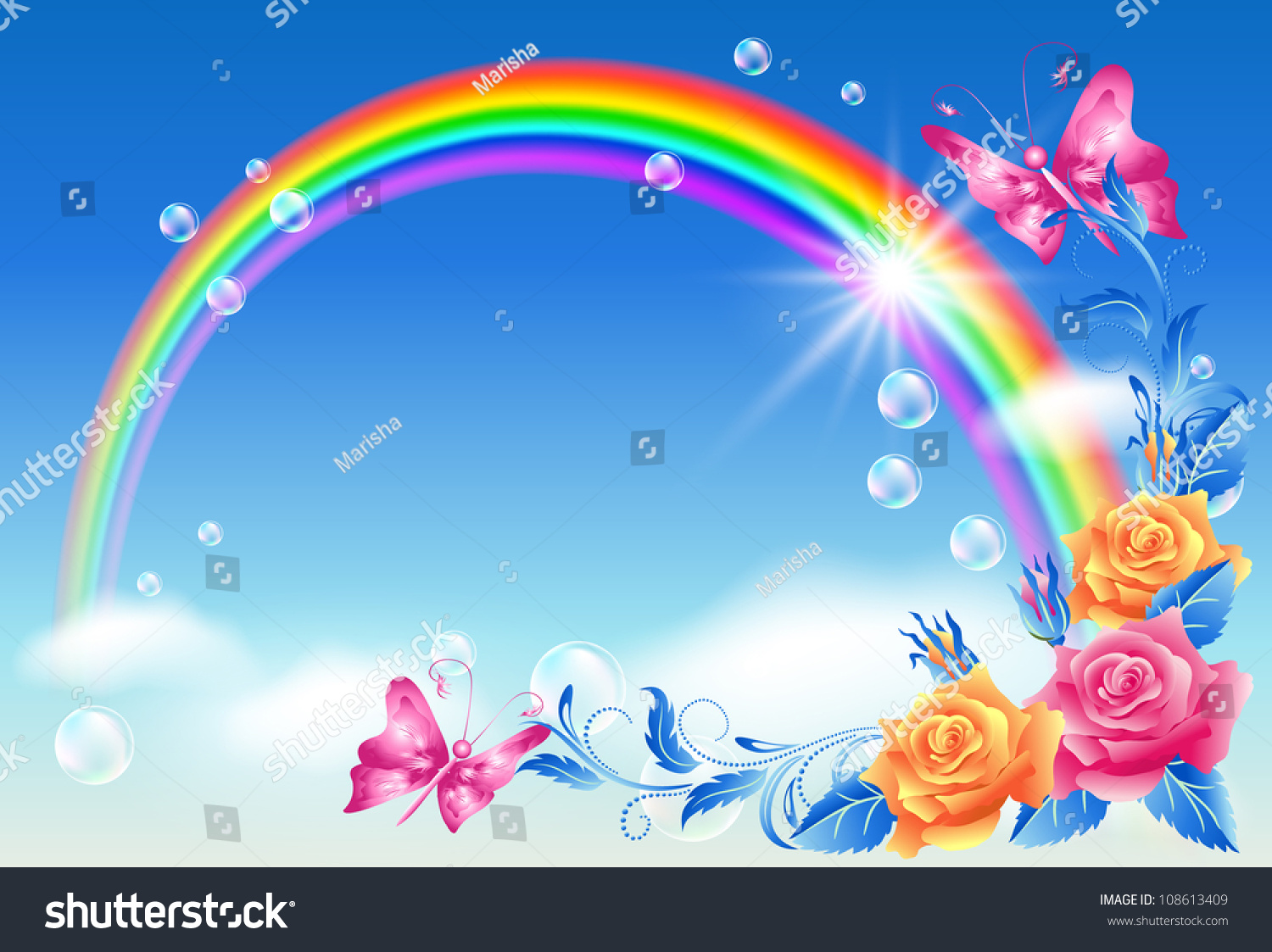 Rainbow, Roses And Butterfly. Raster Version Of Vector ...