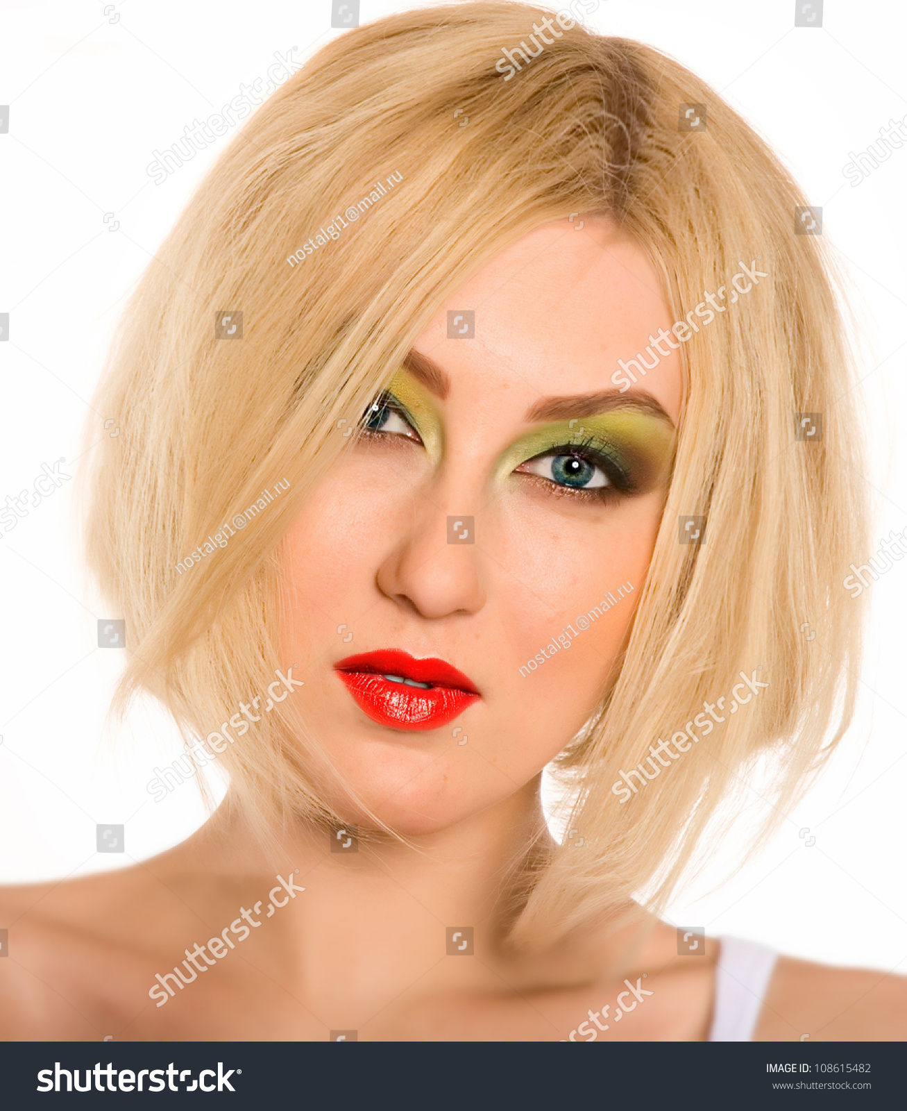 Portrait Beautiful Blonde Girl Short Hair Stock Photo Edit Now