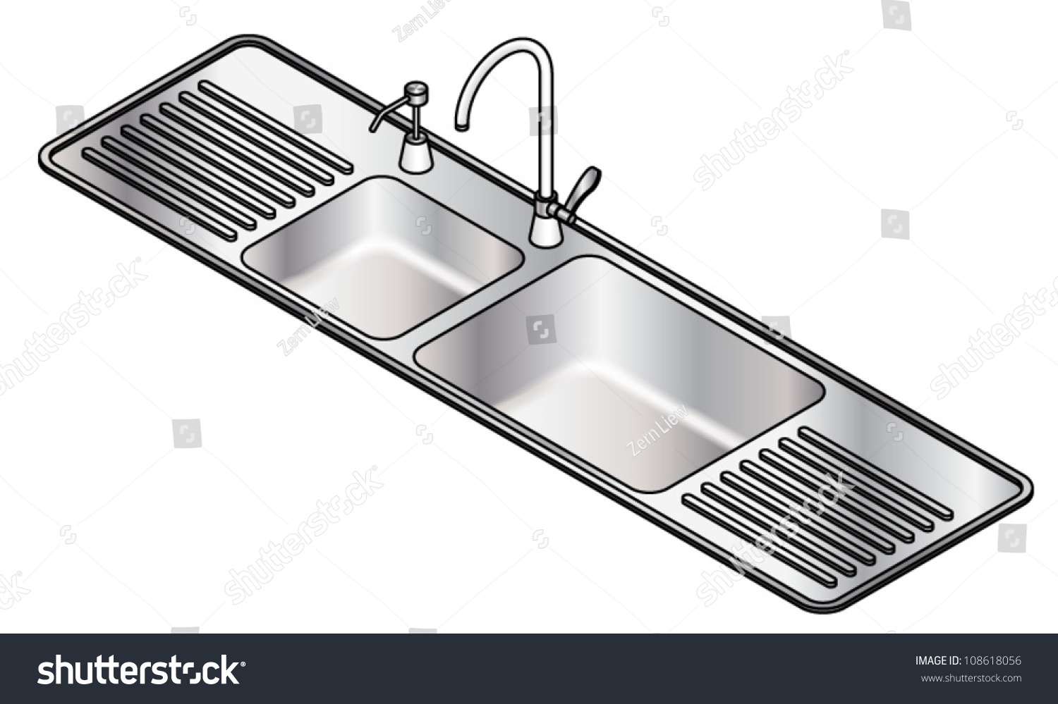 A Twin Bowl Stainless Steel Kitchen Sink With A Swivel Mixer Tap ...