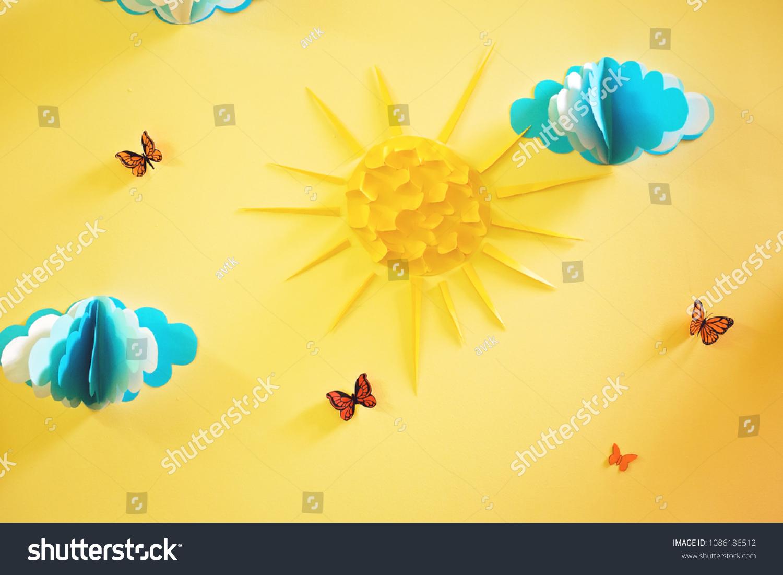 Decoration Wall Nursery Paper Clouds Sun Stock Photo & Image ...