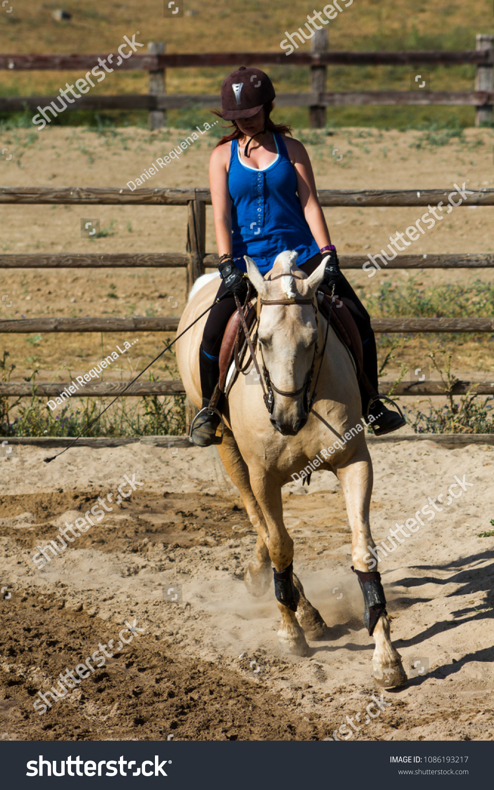 Woman On Palomino Horse Horse Riding Stock Photo Edit Now 1086193217