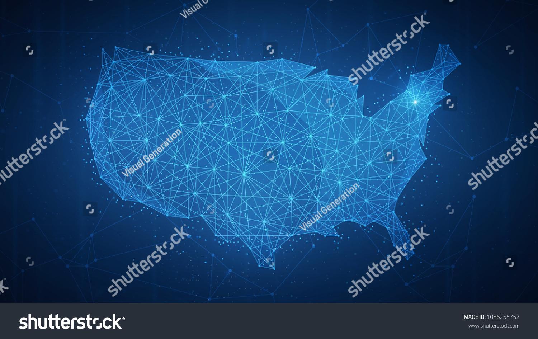 Polygon Usa Map Blockchain Technology Peer Stock Illustration 1086255752