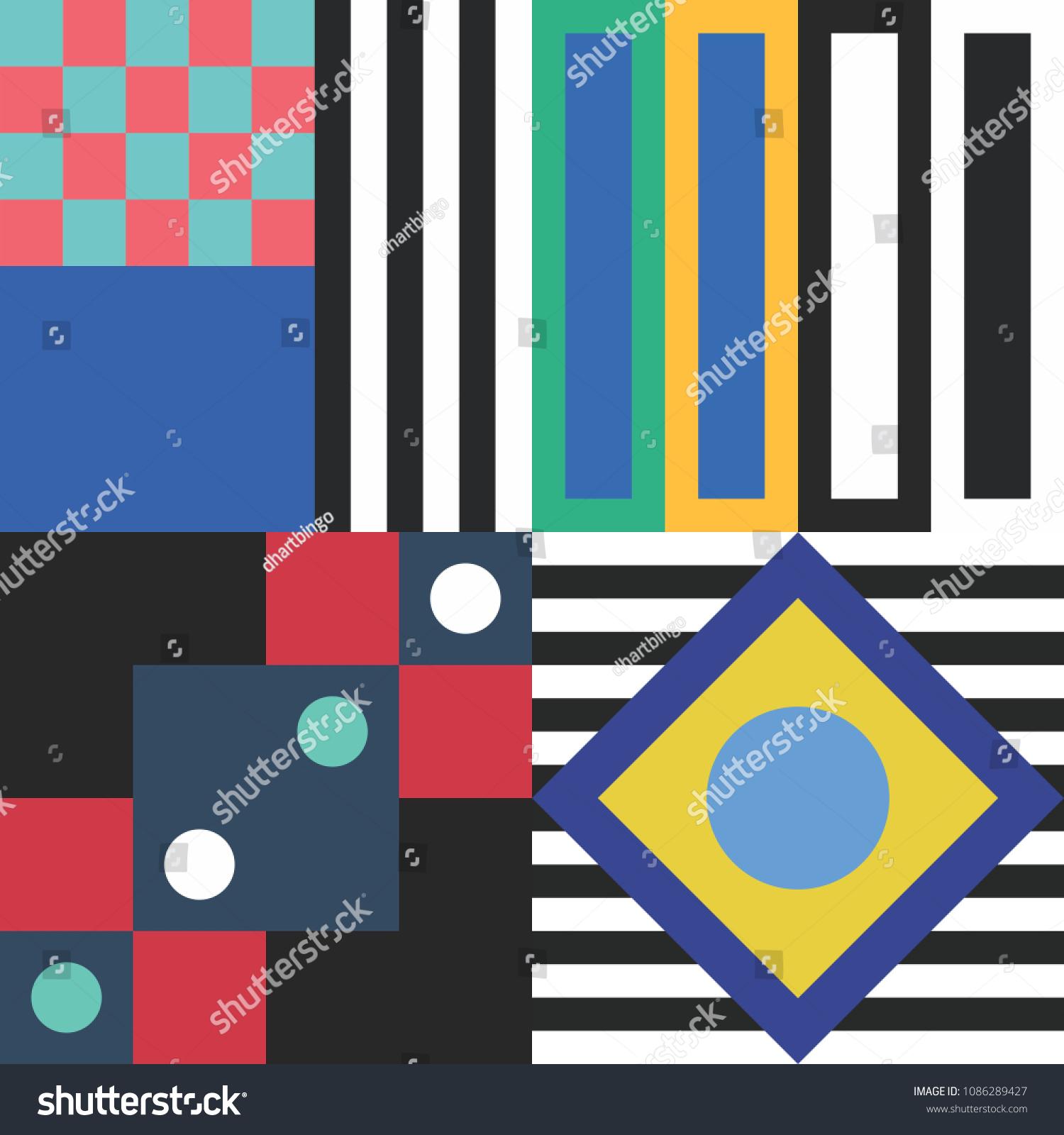 Trendy Geometric Elements Memphis Greeting Cards Design Retro Style Texture
