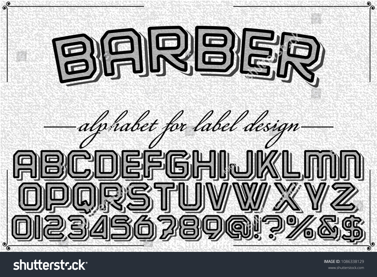 Font Alphabet Name Barber Script Typeface Stock Vector