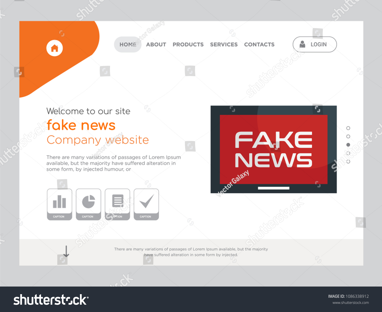 Quality One Page Fake News Website Stock Vector (Royalty Free ...