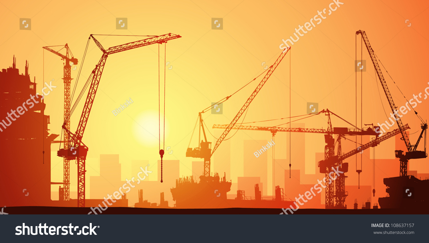 Lots Tower Cranes On Construction Site Stock Vector ...