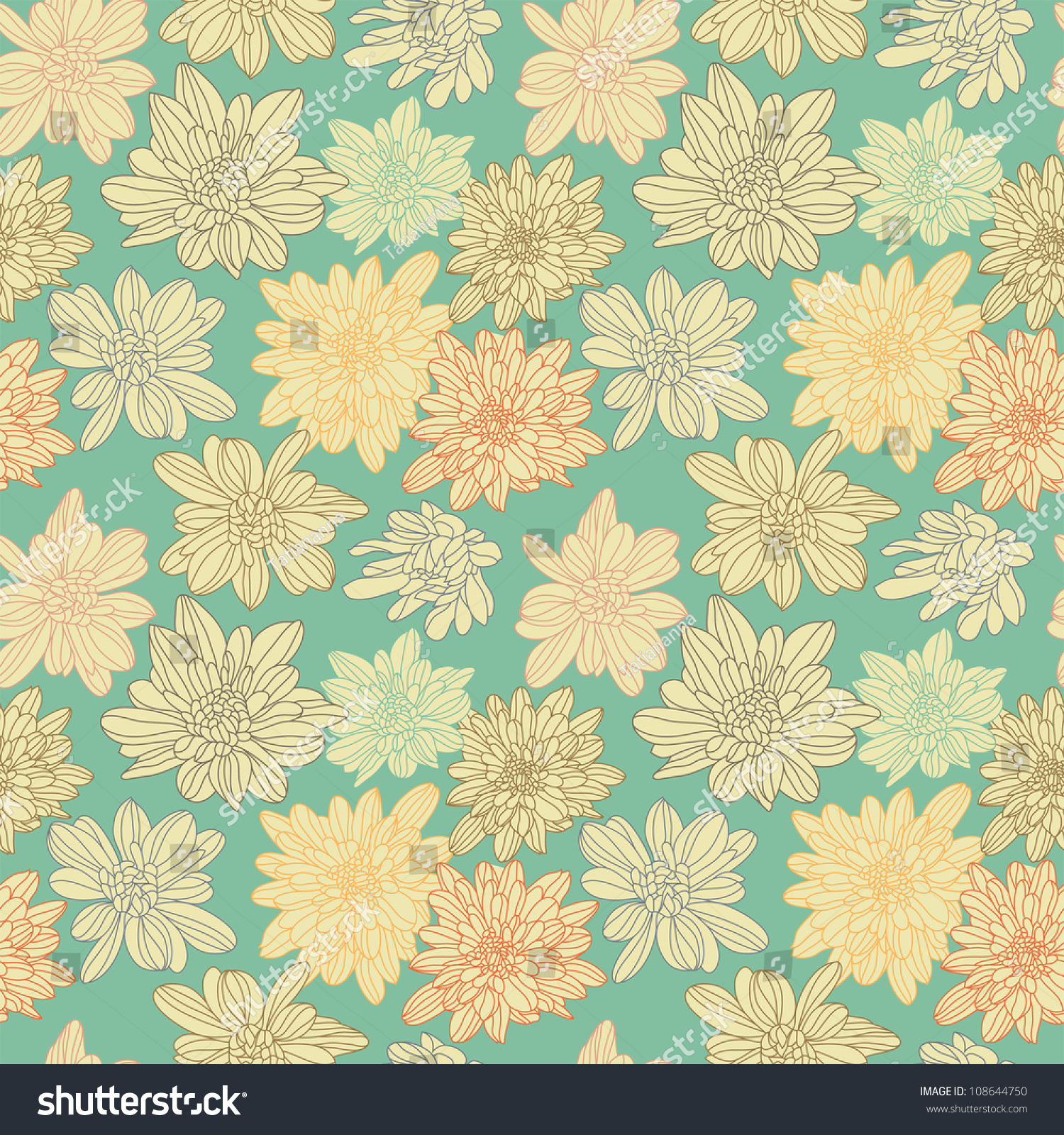 Floral Seamless Pattern With Cute Abstract Flower Royalty Free ...