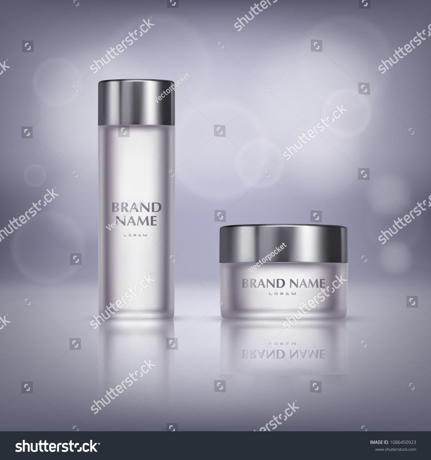 Vector Promotion Banner Glass Jar Cosmetic Stock Vector Royalty Free 1086450923
