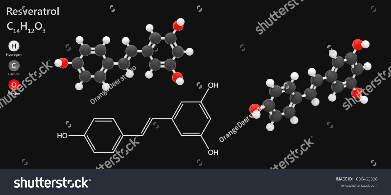 Molecular Structure Resveratrol Antioxidant C14h12o3 Isolated