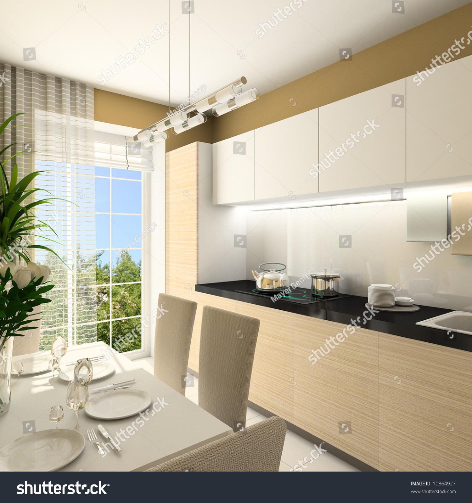 Kitchen Design Rendering: Modern Design Interior Kitchen 3d Render Stock