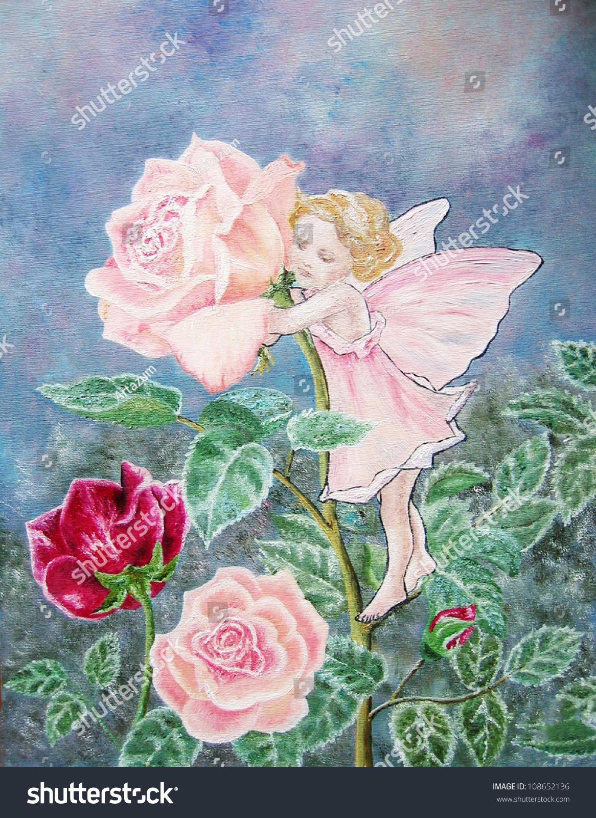 Oil Painting Flower Fairy Rose Fairy Stock Photo Edit Now