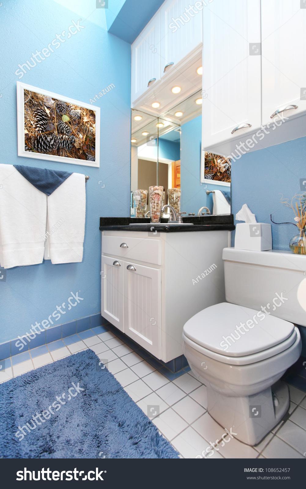 Bathroom White Cabinets Bathroom Interior Blue Walls White Cabinets Stock Photo 108652457
