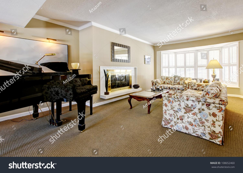 Elegant Living Room Interior Piano Fireplace Stock Photo 108652460 Shutterstock
