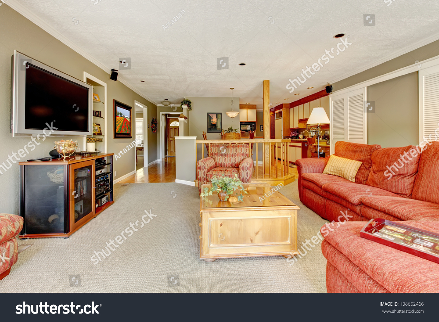 large american living room red sofa stock photo 108652466 shutterstock. Black Bedroom Furniture Sets. Home Design Ideas