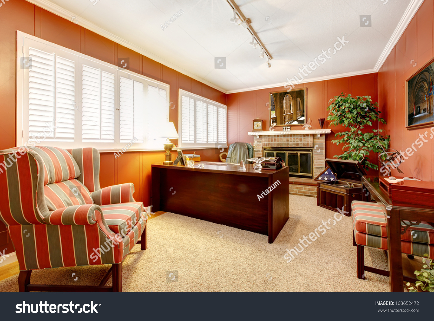 Elegant Living Room Interior With Piano Fireplace And Antique Sofa Stock Photo 108652472