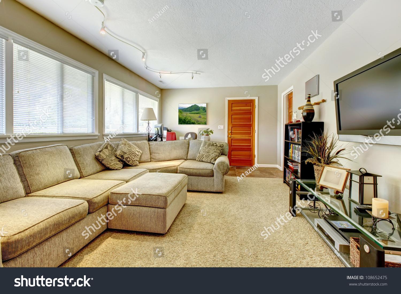 Natural Color Living Room Natural Colors Elegant Living Room Tv Stock Photo 108652475