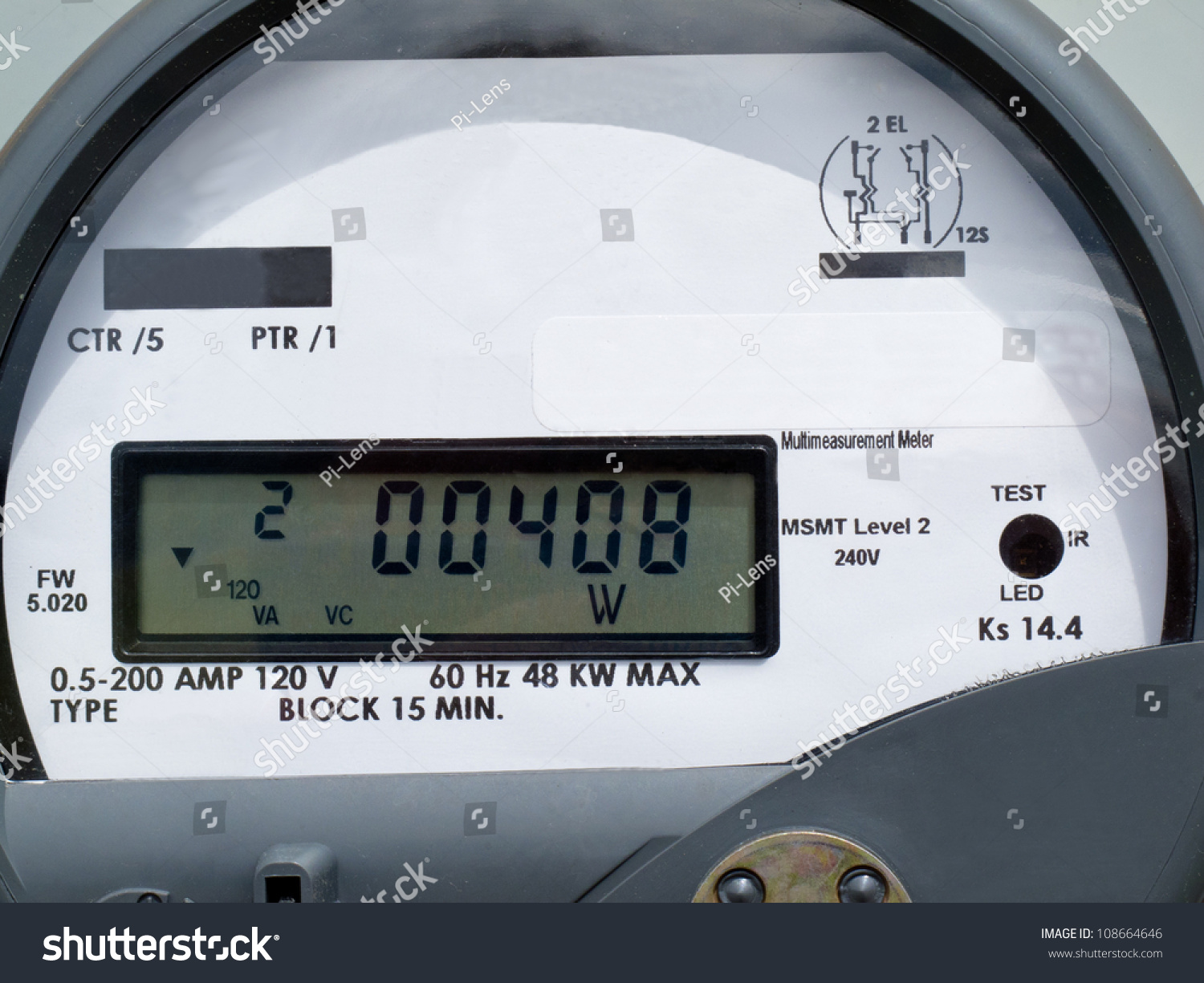 Residential Electricity Monitors : Closeup modern smart grid residential digital stock photo