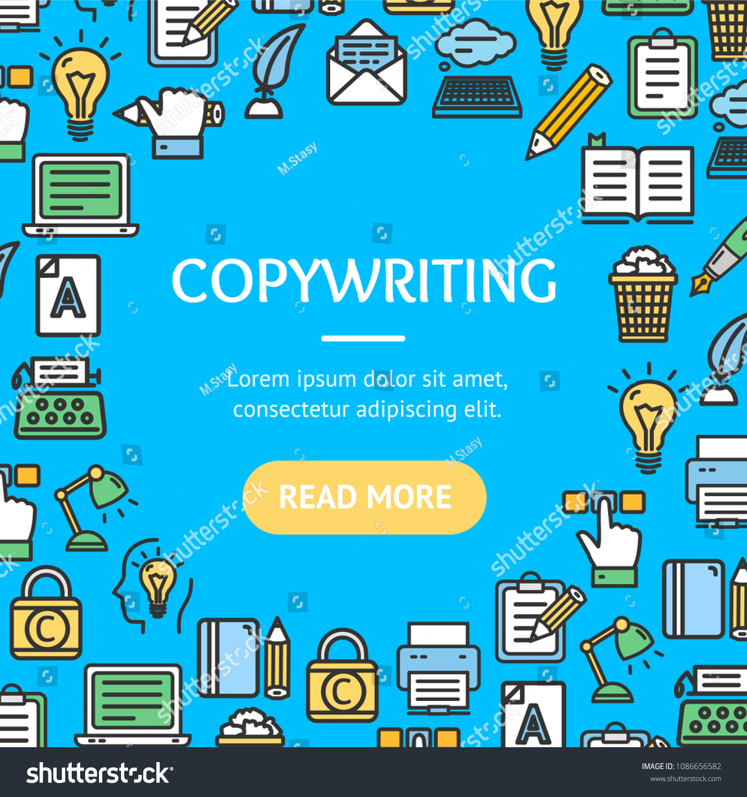 Writer Copywriting Signs Round Design Template Stock Photo (Photo ...