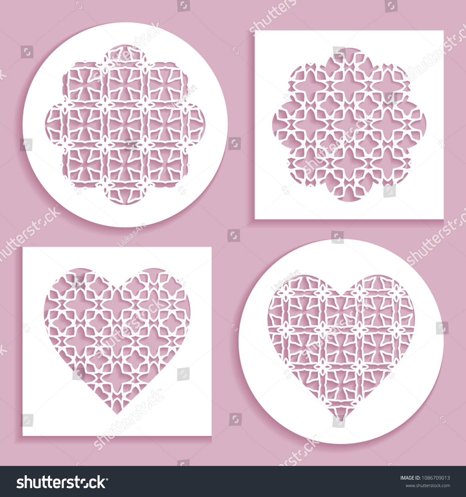 Templates Laser Cutting Plotter Cutting Printing Stock Vector