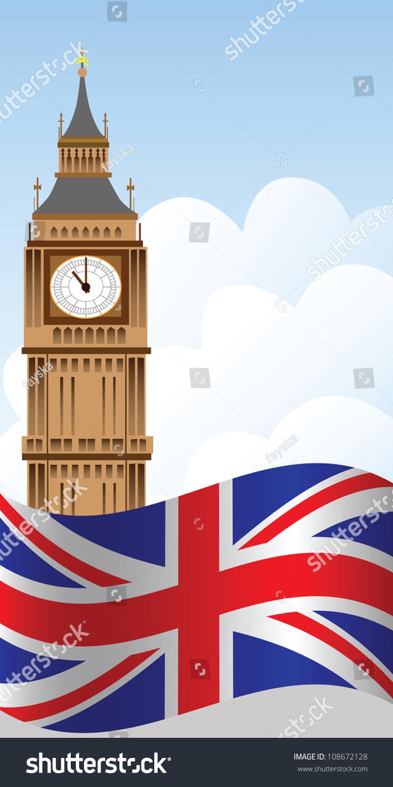 big ben tower sky uk flag stock vector 108672128
