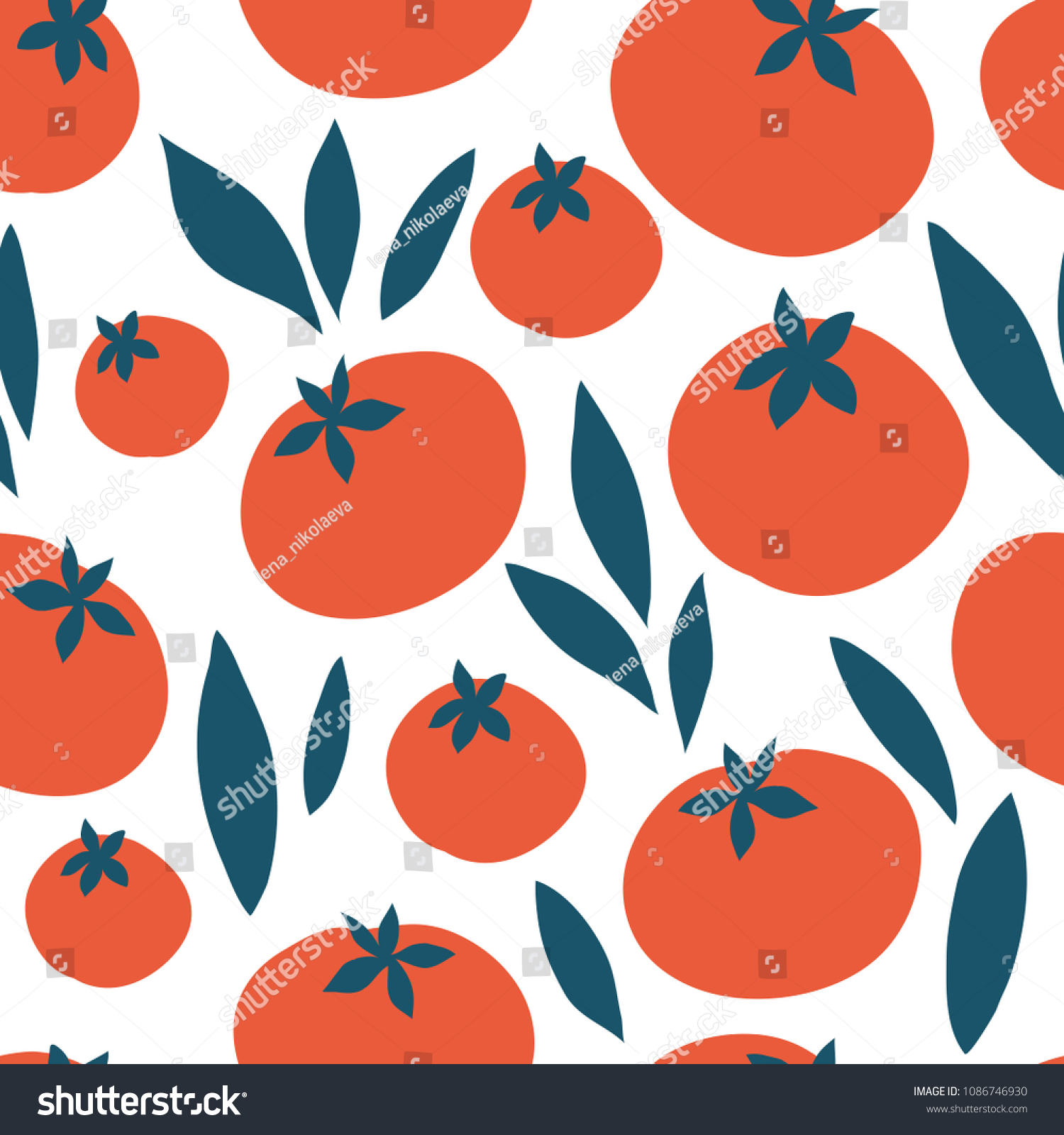 Tomato vector seamless pattern. Endless texture for kitchen wallpaper, textile, fabric, paper.Food background. Flat vegetables on white. Vegan, farm, natural