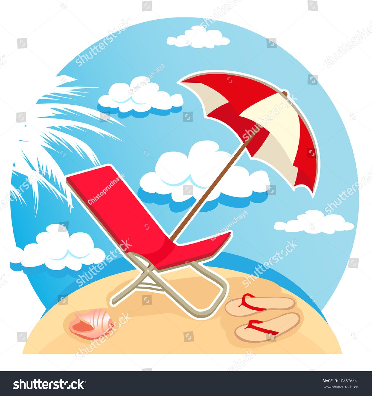 Flip Flop Chair Illustration Parasol Flip Flops Chair On Stock Illustration