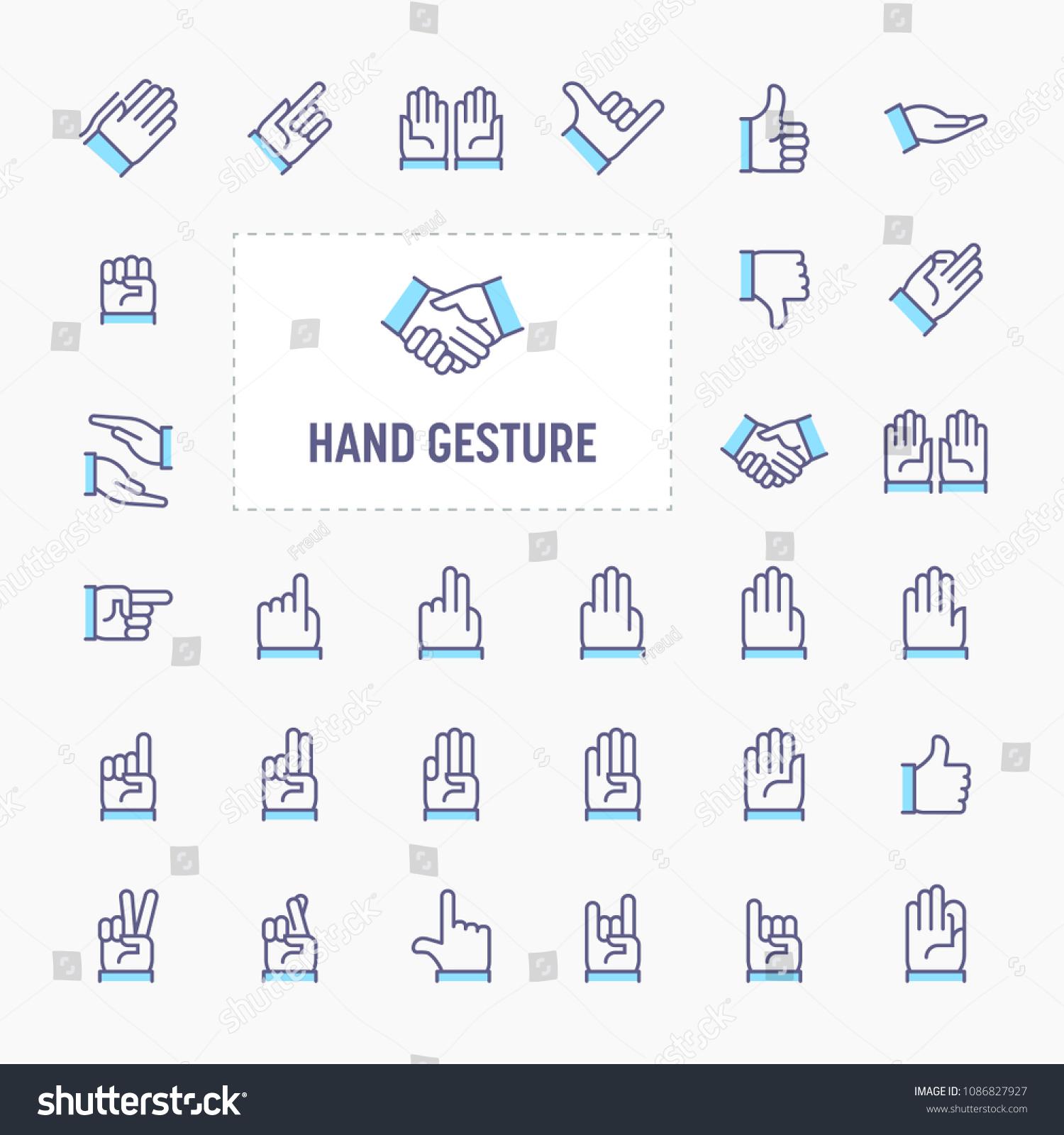 Hand Gesture Symbols Thin Line Website Stock Vector Royalty Free