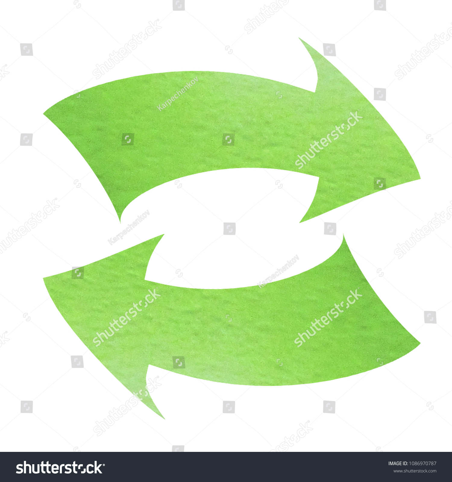 Double Ended Curved Arrow Chevron Icon Left And Right Arrows Green Watercolor Isolated On White