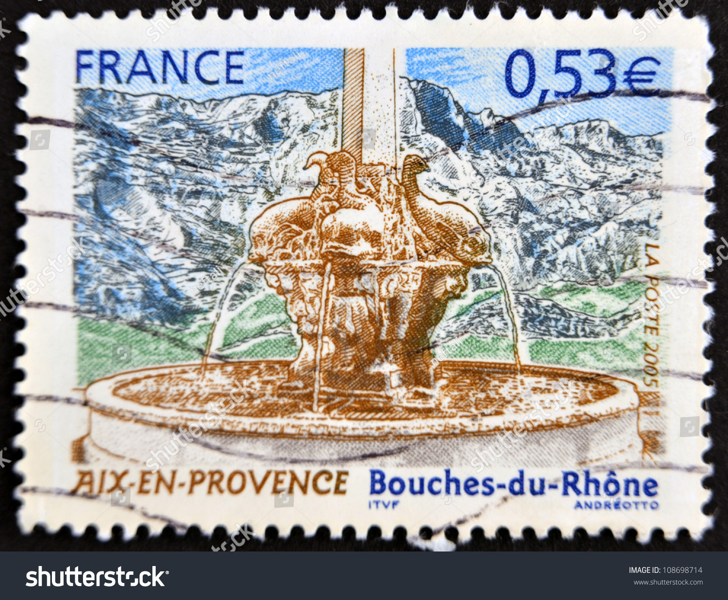 France circa 2005 stamp printed france stock photo for Bouches du rhon