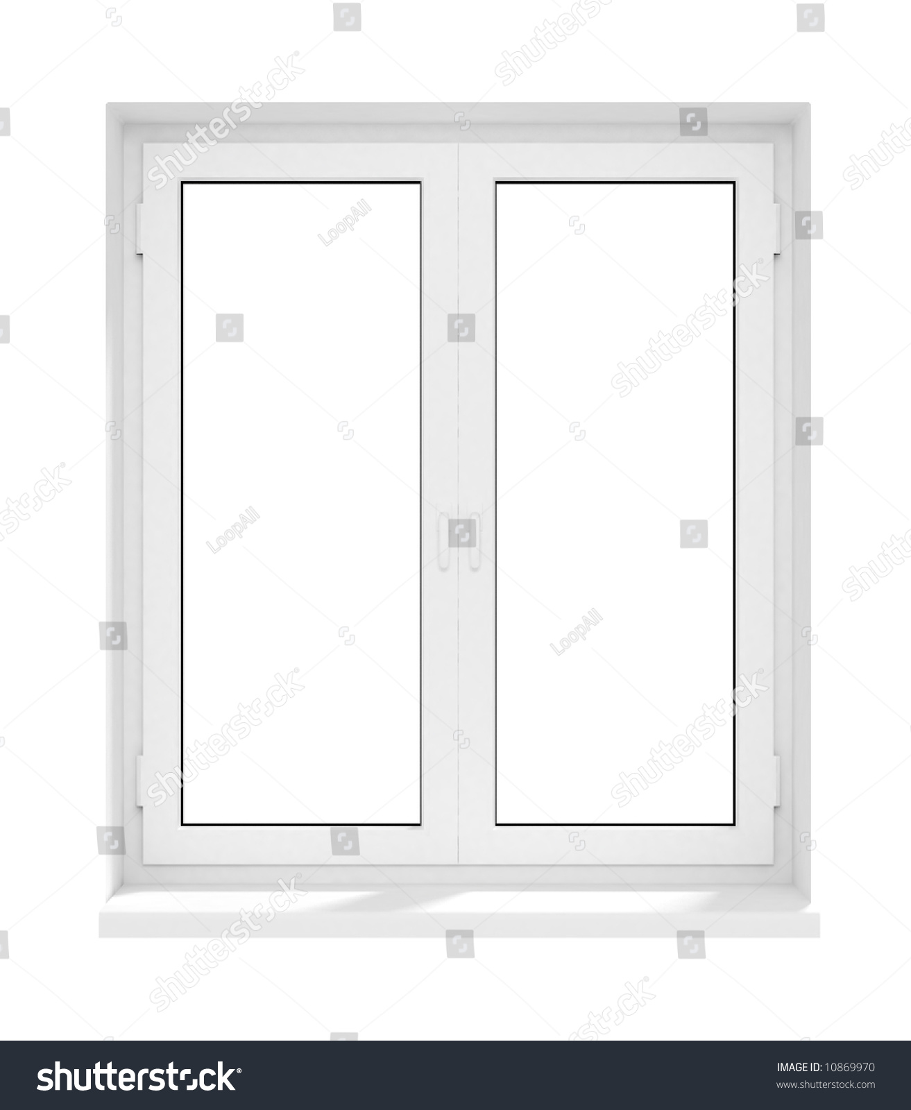 Closed Window Frame : New closed plastic glass window frame isolated on the