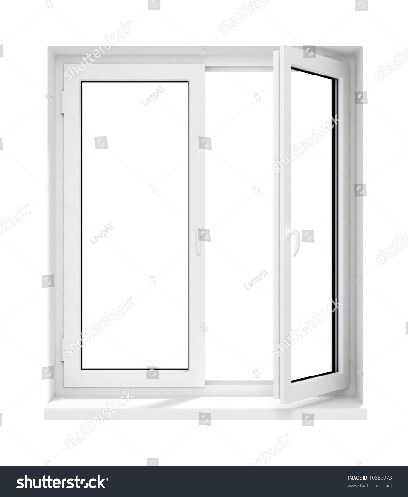 new opened plastic glass window frame isolated on the white ...
