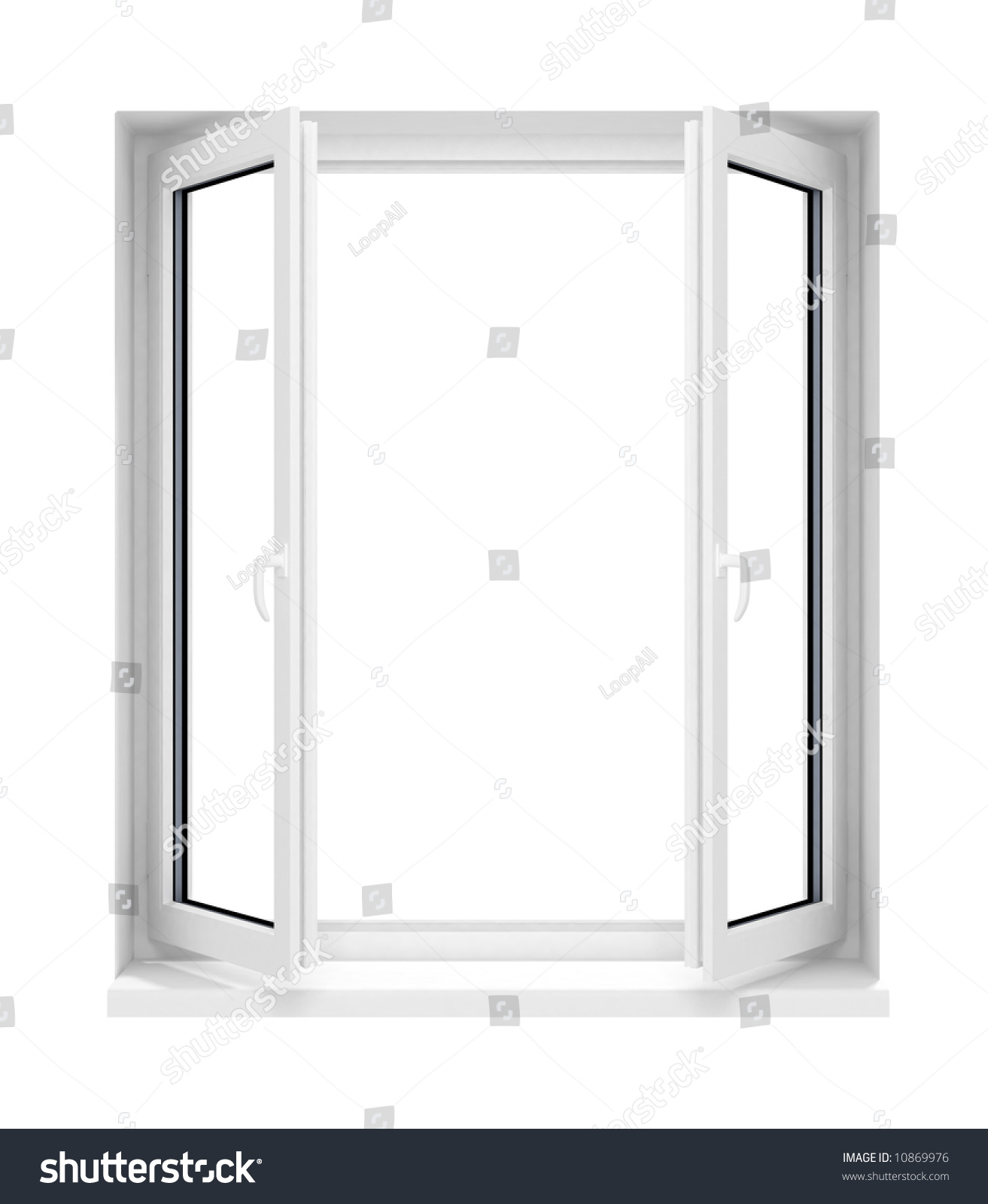 New opened plastic glass window frame stock illustration for Window plastic