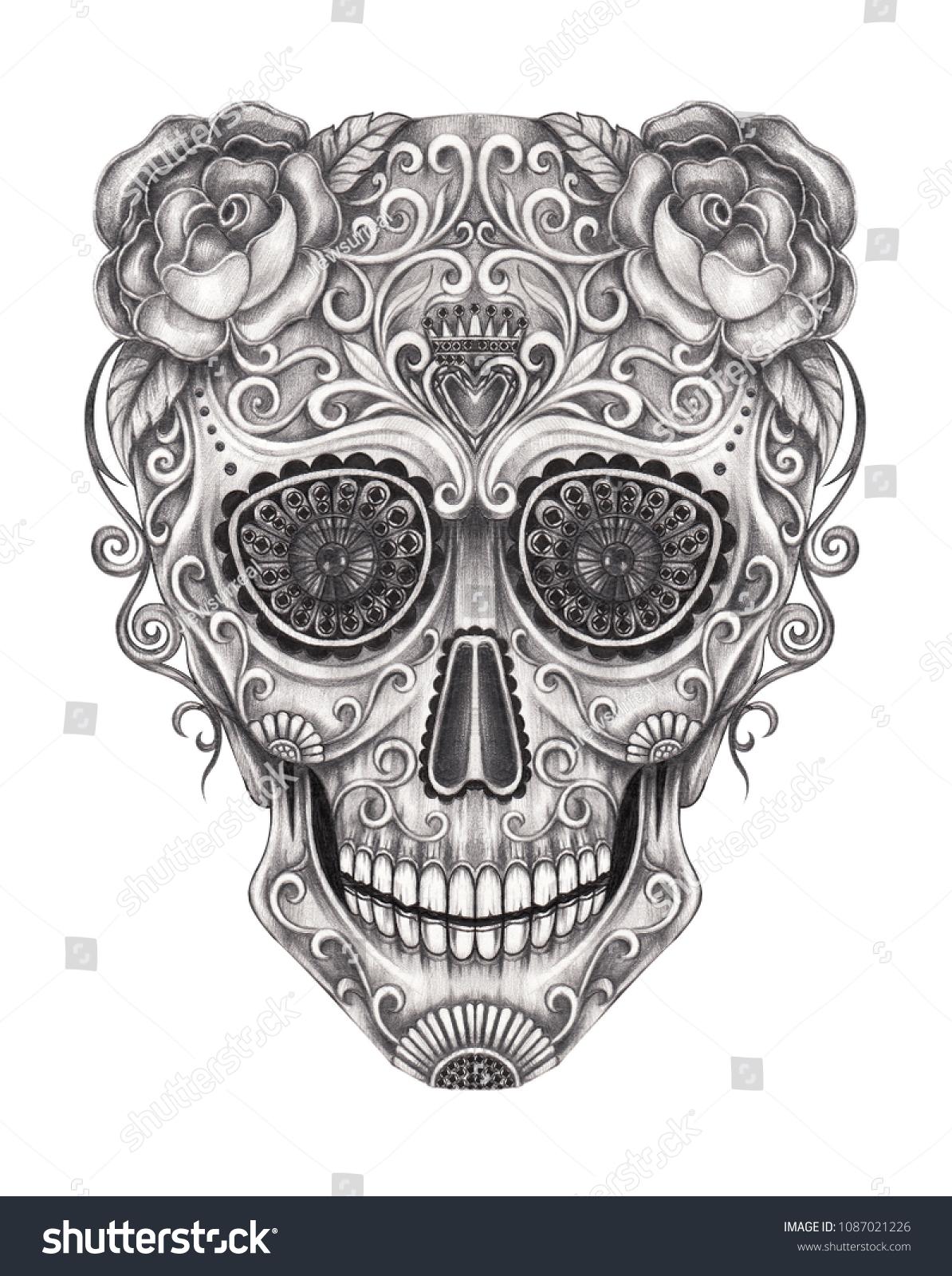 Art Sugar Skull Day Dead Hand Stock Illustration 1087021226