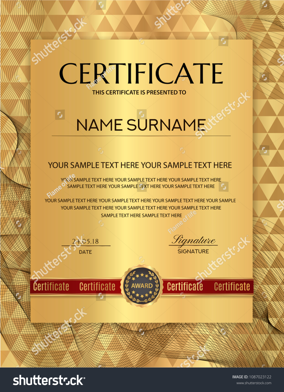 certificate template gold background design diploma stock vector