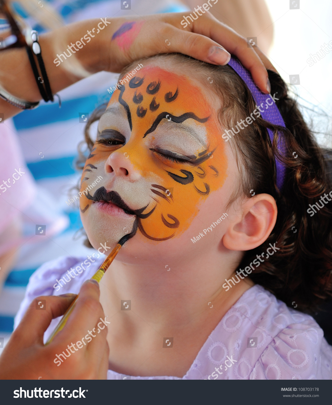 Pretty Girl Face Painting Jaguar Stock Photo Edit Now 108703178