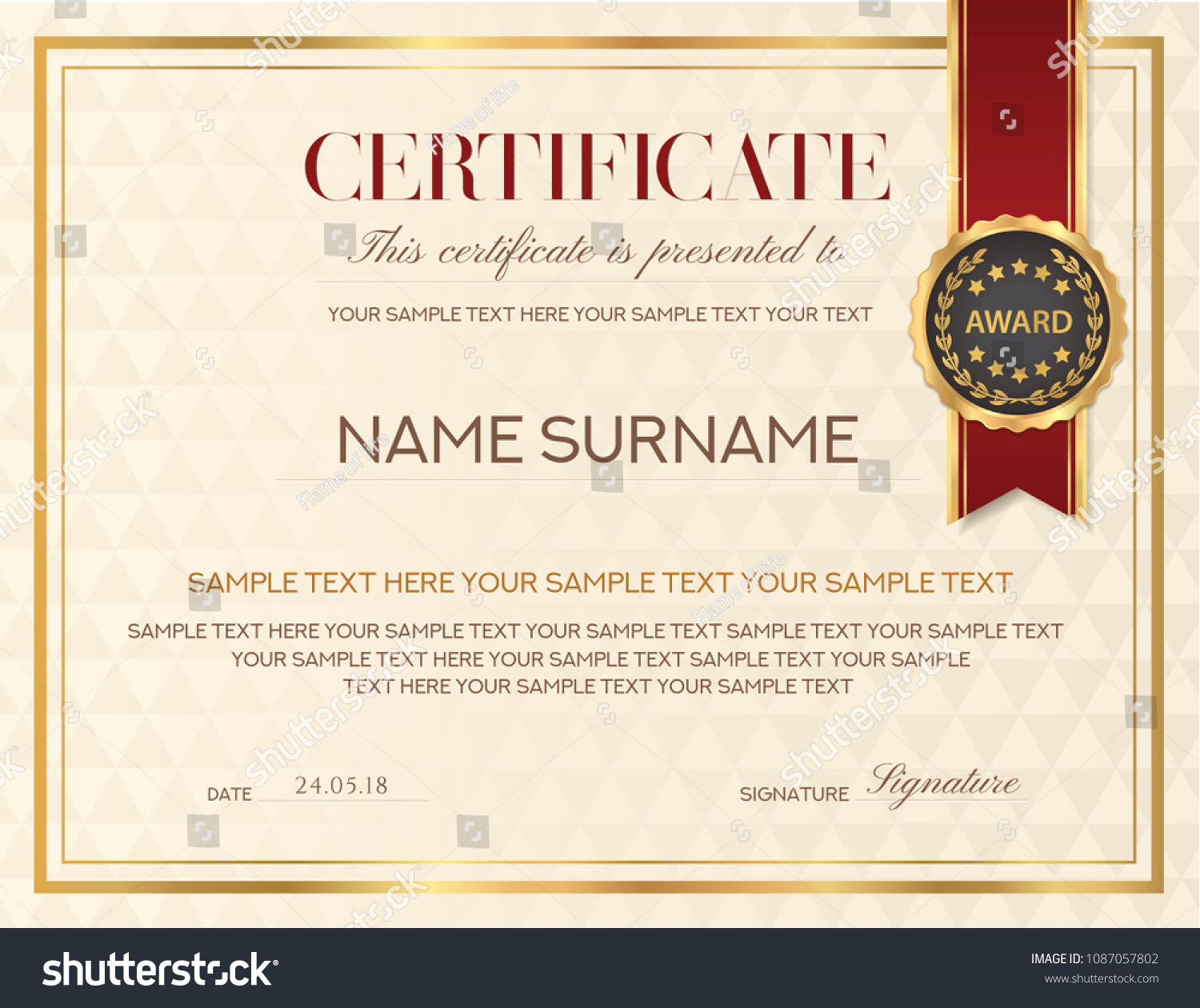 certificate template diploma design with emblem red ribbon certificate of appreciation certificate