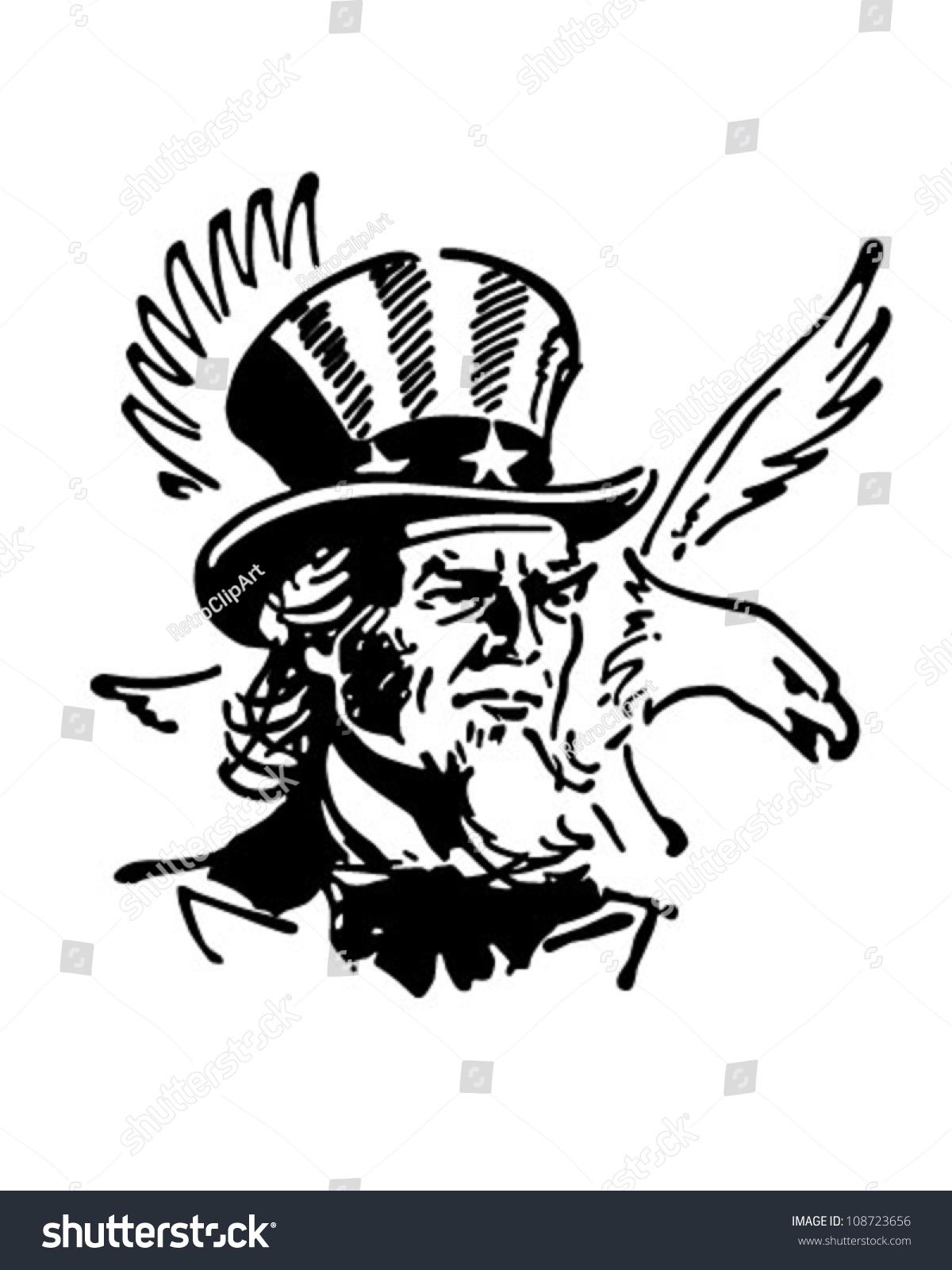 Uncle Sam Eagle Retro Clipart Banner Stock Vector 108723656 ...