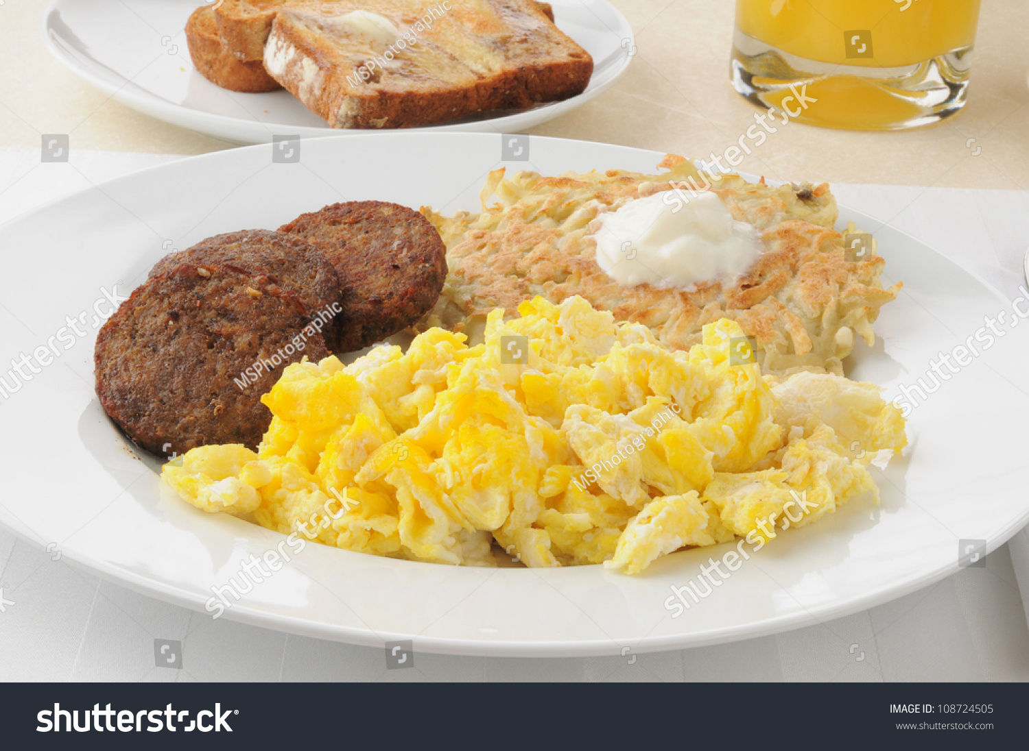 Sausage Patties With Scrambled Eggs And Potato Pancakes Or ...