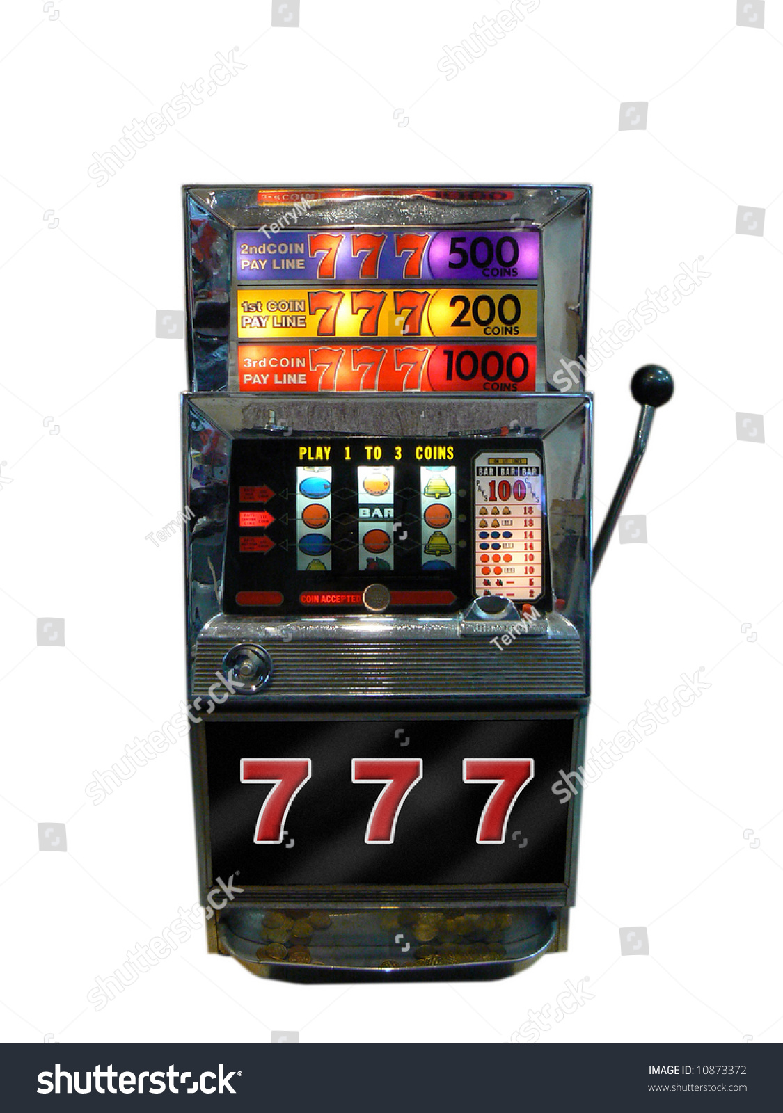 A Slot Machine, One Arm Bandit From Old Las Vegas Stock ...