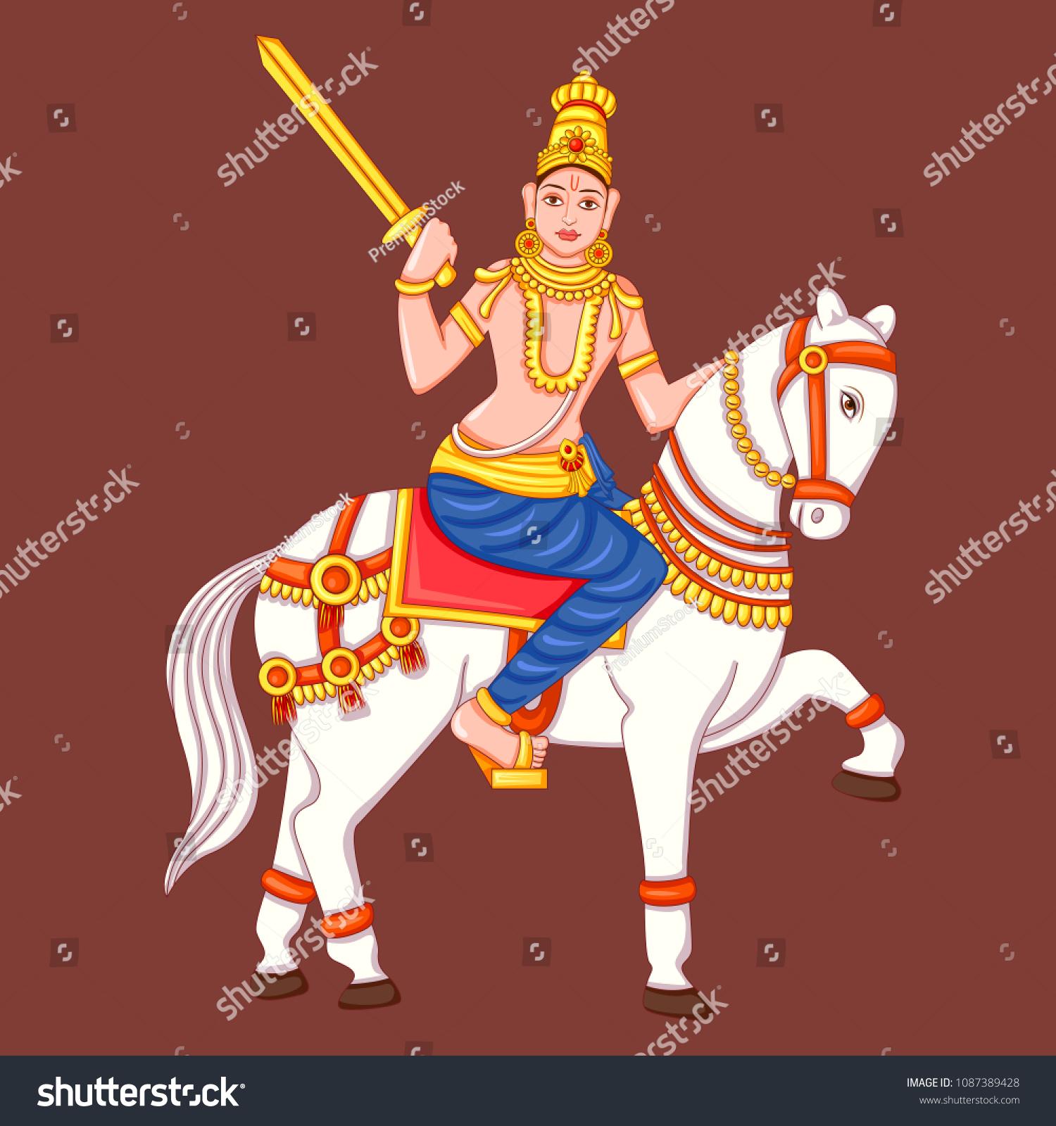 Vector Design Statue Indian Lord Kalki Stock Vector Royalty Free ...