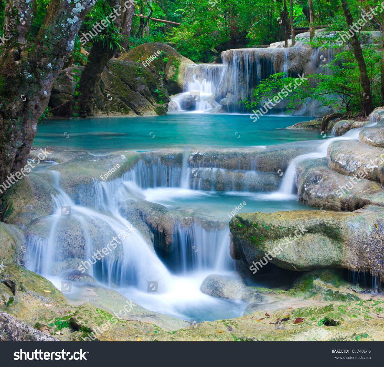 Blue Stream Waterfall Kanjanaburi Thailand Erawan Stock