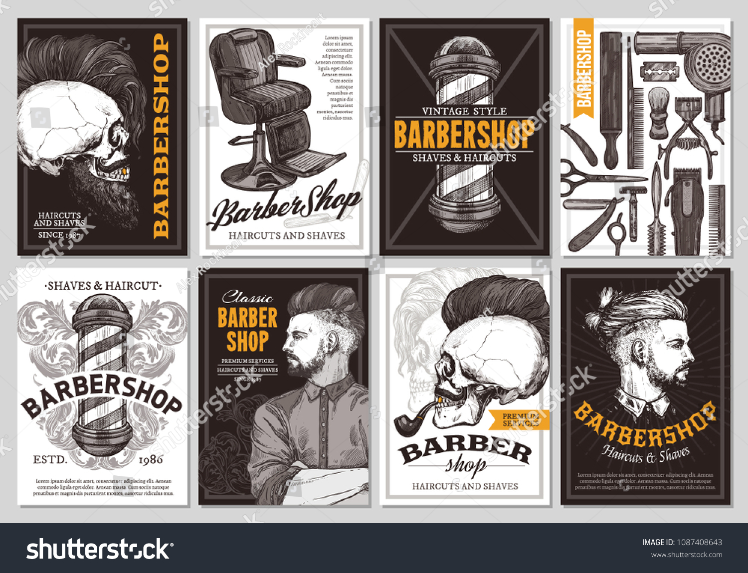 Hand Drawn Vector Barber Shop Banners Stock Vector Royalty Free