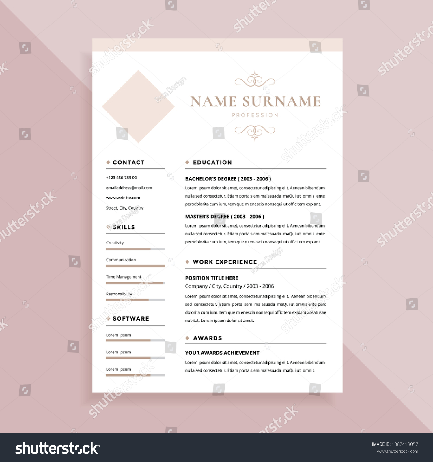 Elegant Simple Resume Template Design Stock Vector (Royalty Free
