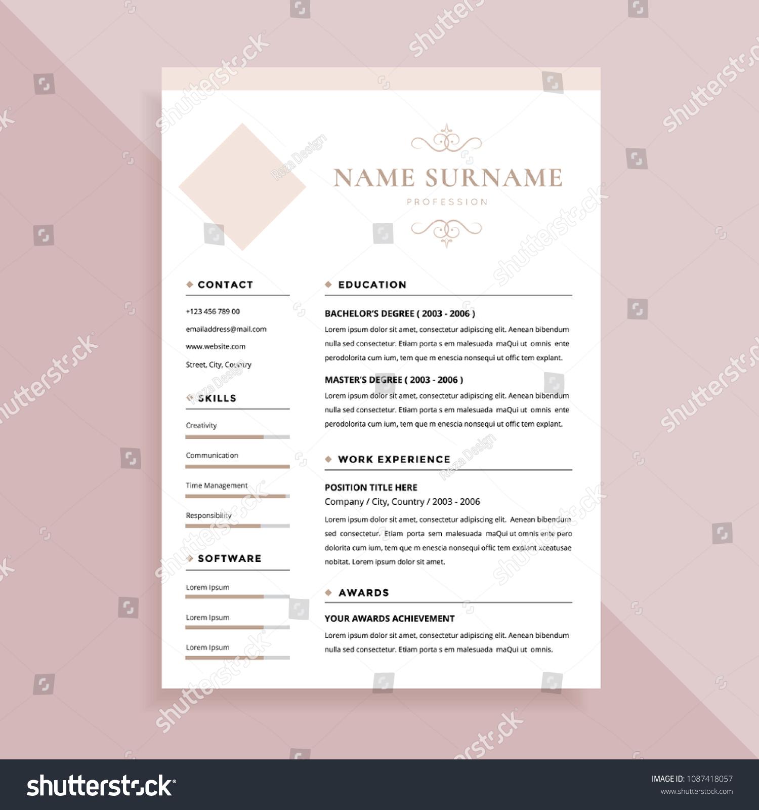 Elegant Simple Resume Template Design Stock Vector (Royalty Free