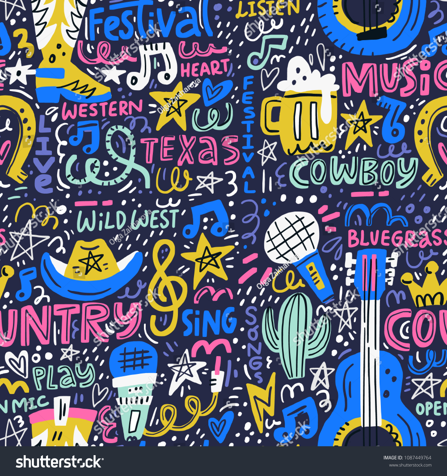 Handdrawn Seamless Pattern Various Country Music Stock Vector