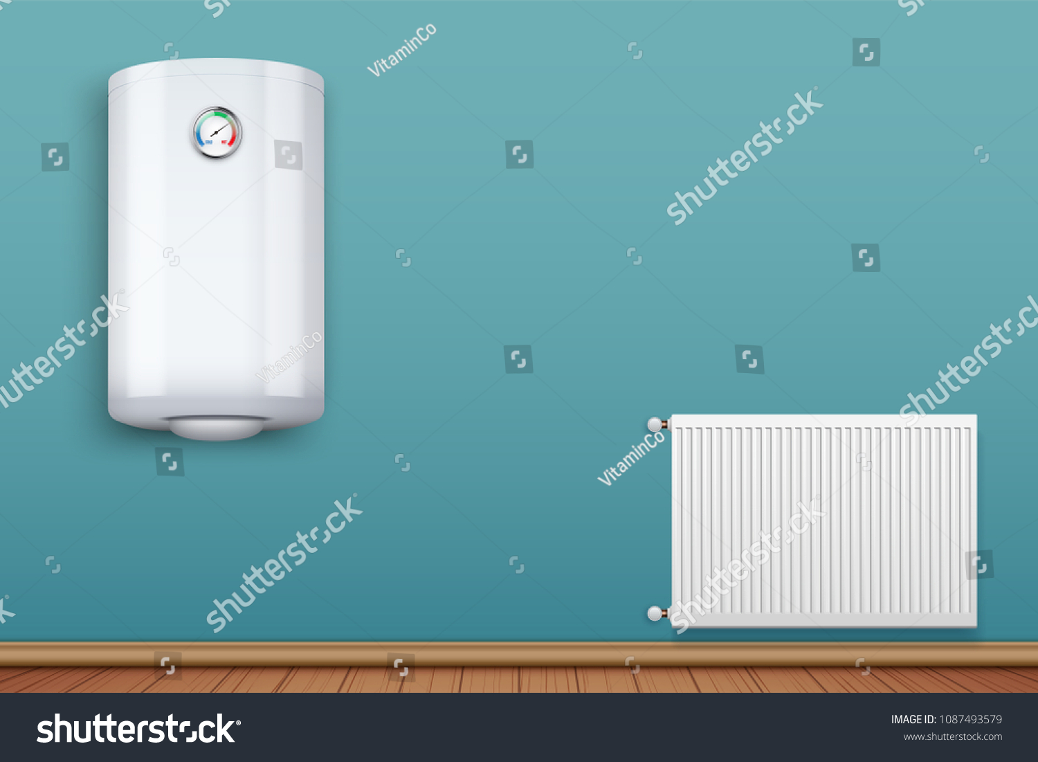 Water Heater Boiler On Wall Metal Stock Vector (Royalty Free ...