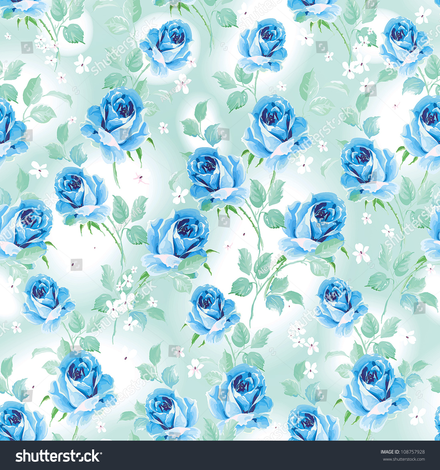 Beautiful Seamless Wallpaper Flowers On White Stock Vector Royalty