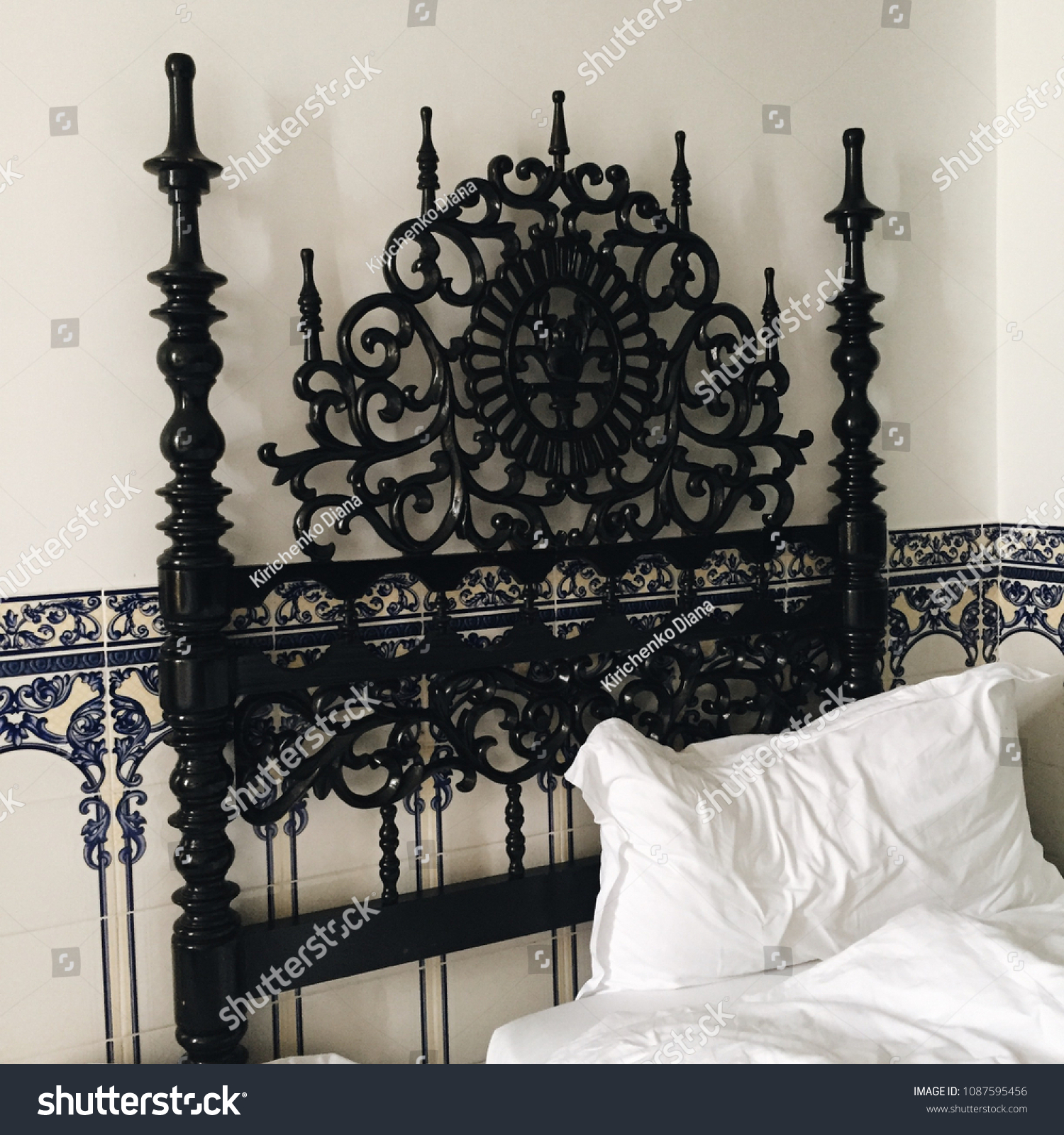 Image of: Gothic Woodcarving Black Bed White Sheets Stock Photo Edit Now 1087595456