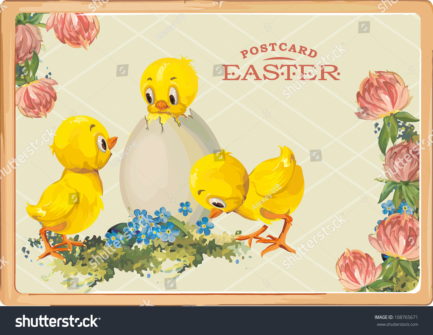 Easter Card Template Chicks Eggs Vintage Stock Vector 108765671