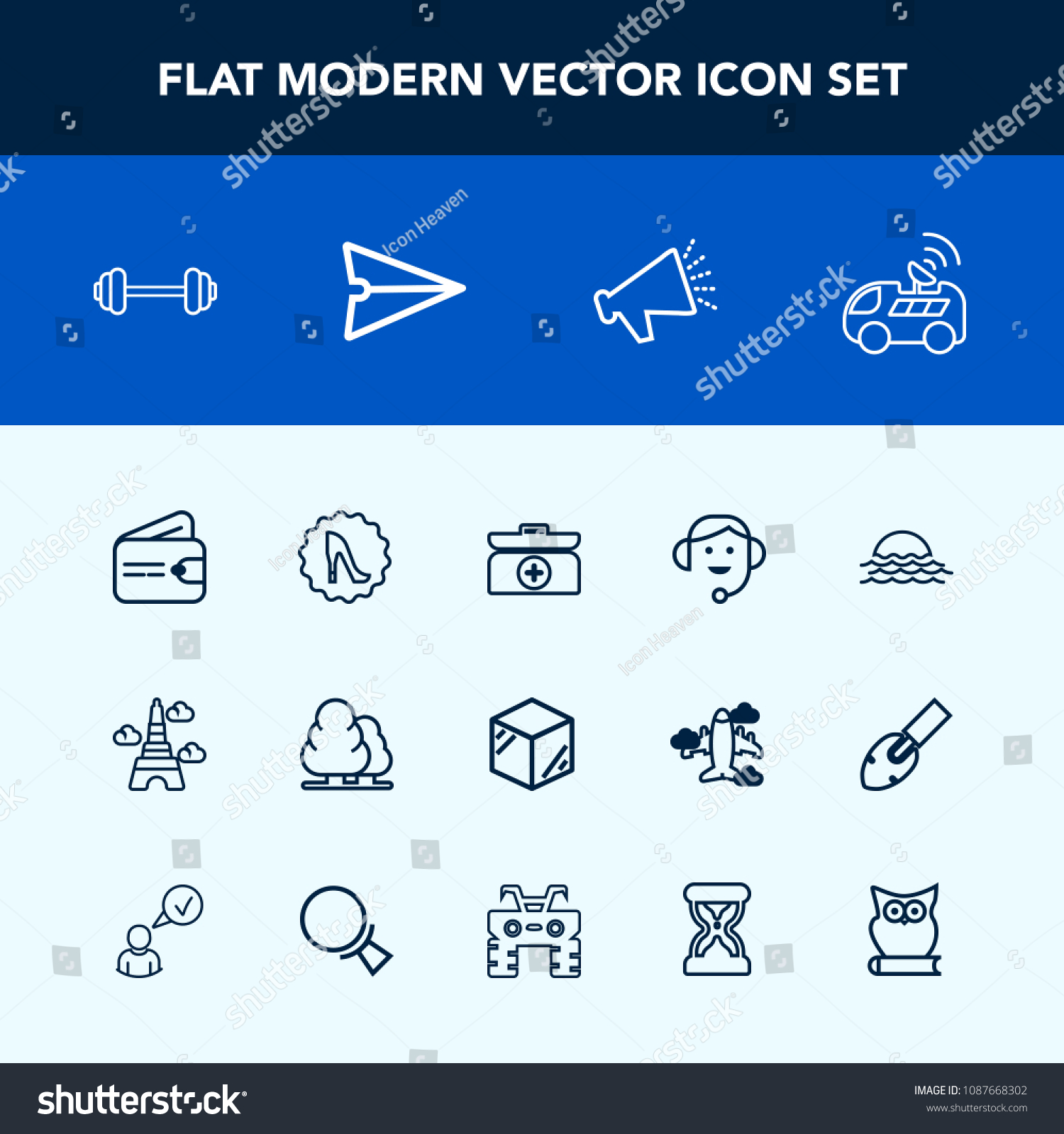 Modern Simple Vector Icon Set Kit Stock Vector 1087668302 - Shutterstock